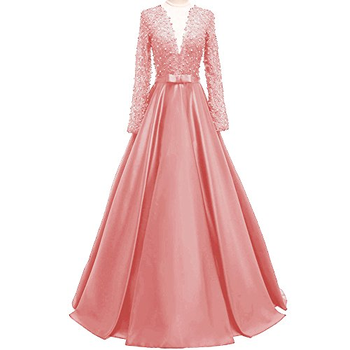 66632df5f02 ... Dresses MEILISAY Women s Deep V-Neck Beaded Prom Dress Lace Evening  Formal Dress with Long Sleeves.   