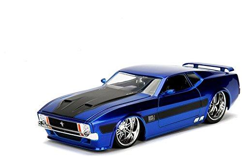 新しい1 : 24表示Jada Toysコレクション – 1973 Ford Mustang Mach 1ブルーとブラックストライプBigtime Kustoms DiecastモデルCar by Jada Toys (without小売ボックス) B07D2XX1P1
