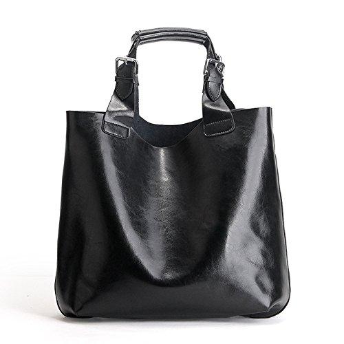 Main Capacité Imperméable Grande Sac Black Cuir Shopping Bandoulière Rétro Dames À AACwxHaqTU