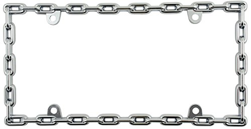 Custom Accessories 92550 Chrome Round Chain Link License Plate Frame