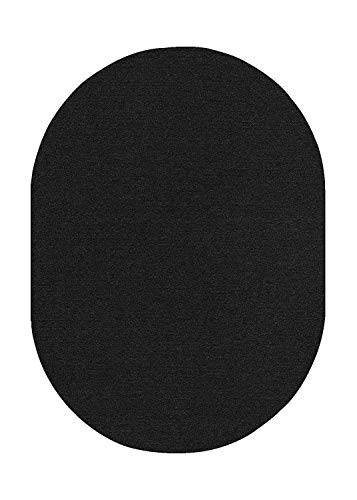 Ambiant Broadway Collection Pet Friendly Indoor Outdoor Area Rugs Navy – 5 x8 Oval Non Slip Backing