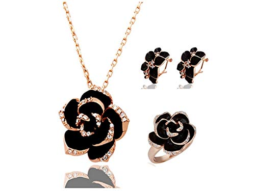 Yuchoi Girl Jewelry Black Flower Costume Fashion Jewelry Sets for Women Girls by Yuchoi