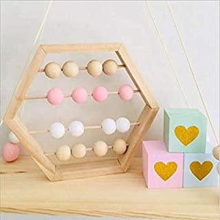 LPER Puzzles Toys for Kids, Puzzle Toy Natural Wooden Abacus Beads Craft Baby Early Learning Educational Toys Baby Room Decor(Wood White Silver) (Color : Wood White Pink)
