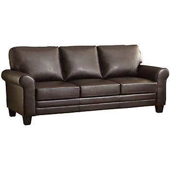 "Homelegance Hume 86"" Bonded Leather Match Upholstered Sofa, Dark Brown"