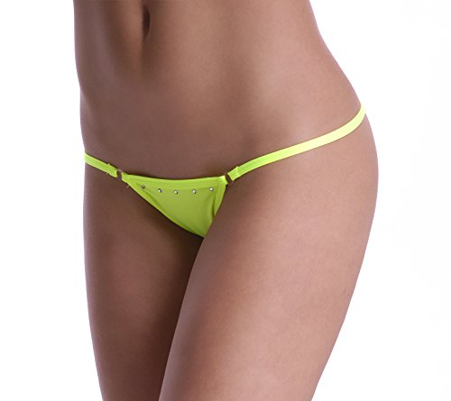 Poly Strass Tanga String Yellow Fluo With 0FFwqd6