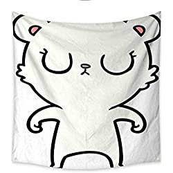 Anniutwo Decor Tapestry Polar Bear Cartoon Bedroom Living Room Dorm 32W x 32L Inch