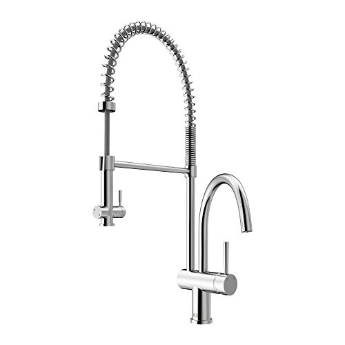 VIGO VG02006ST Dresden Single Handle Pull-Down Sprayer Kitchen Sink Faucet, Centerset Single Hole Faucet, Commercial-Style Design, Premium Stainless Steel Finish