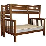 Bedz King Bunk Beds Twin over Full Mission Style with End Ladder, Espresso