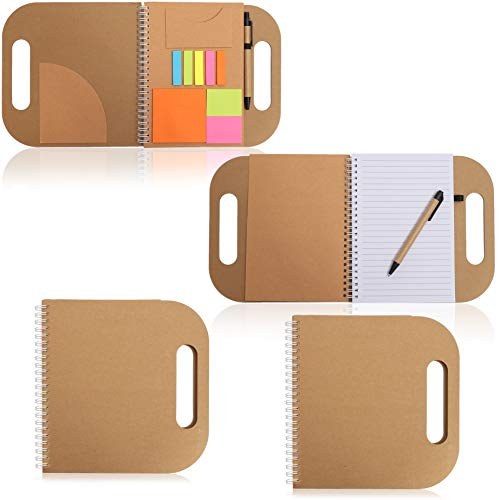 Paper Junkie Kraft Cover Notebooks with Sticky Notes and Pen (4 Pack) 8 x 8 Inches (Notes Paper Sticky Kraft)