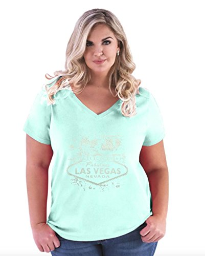Mom's Favorite LAS Vegas T-Shirt Welcome To LAS Vegas NV Travelers Gift Ideas Places To Travel In Nevada Women's Curvy Plus Size V-Neck - Vegas Shop In Las Places To