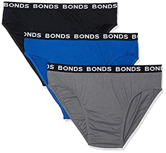 Bonds Men's Underwear Hipster Brief (3 Pack), Black/Grey/Blue, 6X-Large