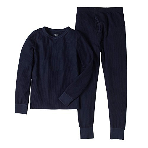 Dark Navy Collection (Fruit of the Loom Big Boys Waffle Thermal Underwear Set (Dark Navy, Large / 10-12))