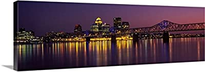 Canvas on Demand Premium Thick-Wrap Canvas Wall Art Print entitled George Rogers Clark Memorial Bridge, Ohio River, Louisville, Kentucky