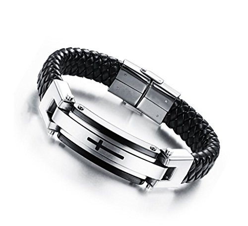 Mens Stainless Steel Leather Bracelet Cross Classic Braided Cuff Bangle Wrist Band by Feraco,Black Silver