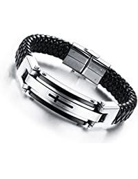 Mens Jewelry Fashion Solid Stainless Steel Cross Braide...