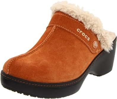 crocs Women's Cobbler Leather Clog,Chestnut/Black,5 M US