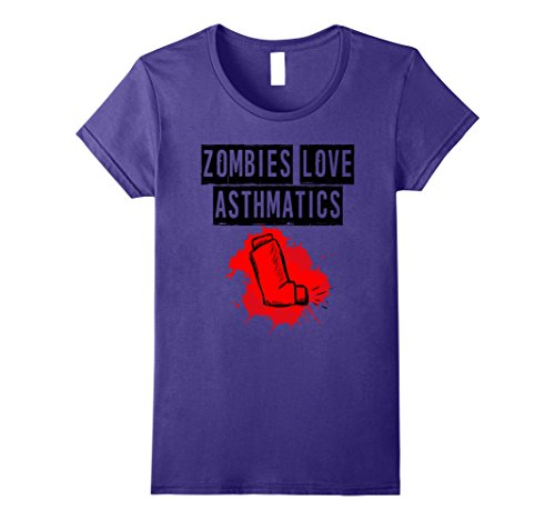 Funny Costumes From Tv Shows (Womens Zombies Love Asthmatics T-Shirt Funny Men Women Tee XL Purple)