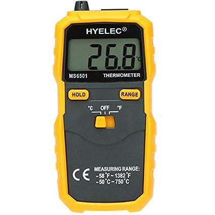 KUNSE Hyelec Peakmeter Ms6501 Pantalla Termostato Digital Termómetro K Tipo Termopar Termómetro