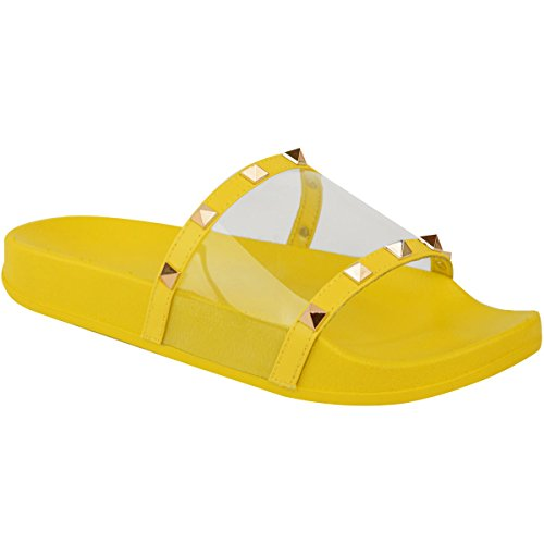 ns Flat Studded Perspex Clear Sliders Summers Sandals Flip Flops Size 8 ()