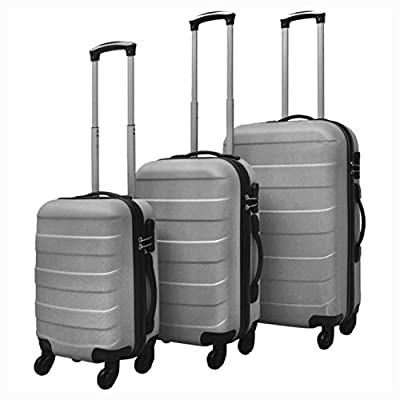 K&A Company Suitcases, 3 Piece Hardcase Trolley Set Silver