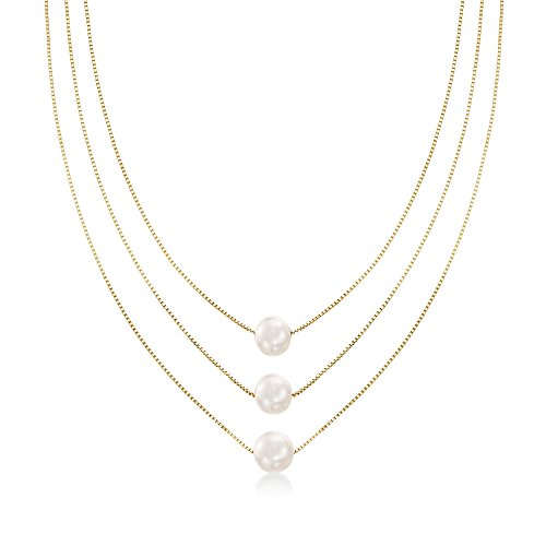 Ross-Simons 9-9.5mm Cultured Pearl Three-Strand Layered Necklace in 18kt Gold Over Sterling