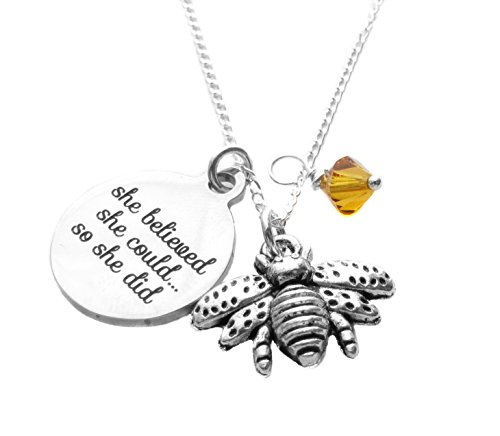 Heart Projects Stainless Steel She Believed She Could Charm, Queen Bee Charm Sterling Silver Necklace 18