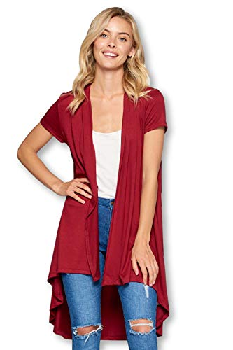 (Soft Bamboo Open Front Short Sleeve Cardigan Sweater for Women -Made in USA (X-Large, Wine) )