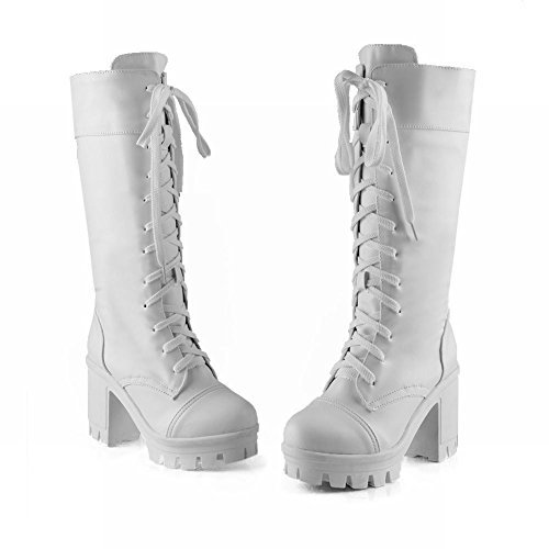 Mee Shoes Damen modern Schnürsenkel chunky heel Plateau langschaft Stiefel Weiß