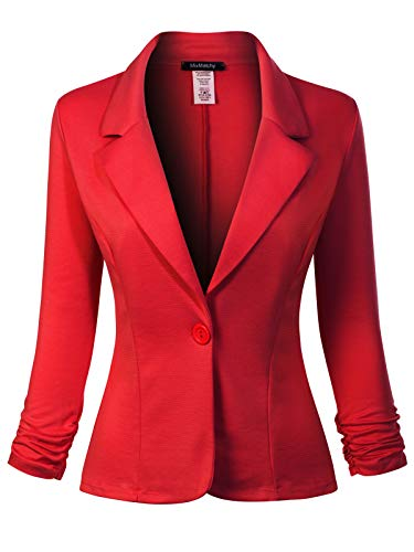 MixMatchy Women's Classic Casual Work Solid Color Knit Blazer Red 2XL ()