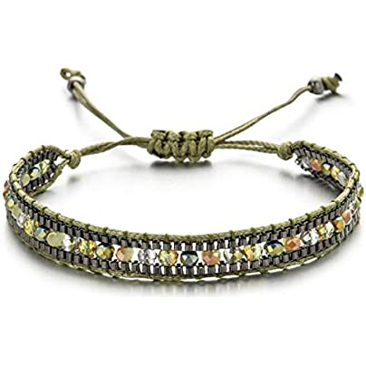 ZDLJM Bracelet Woman Men Handmade Weave Adjustable Rope Chain Crystal Charms Bracelets Wristband Fashion Jewelry Gift Estimated Price £18.99 -
