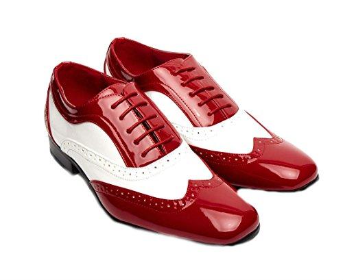 Hommes Garçons Rouge Et Blanc Borsalino Lacet Rossellini Habillé Décontracté Chaussures Mariage