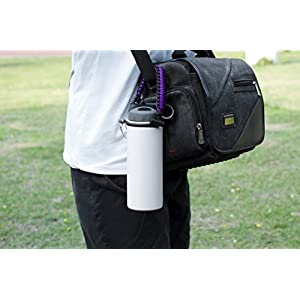 Hydro Flask Paracord Handle Holder, Glink General Hydro Flask Nalgene CamelBak for Wide Mouth Water Bottle  Carrier, Strap Cord with Safety Ring and Carabiner - Purple/Black