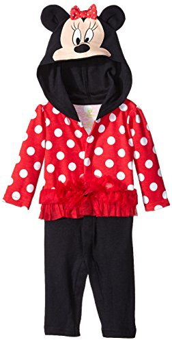 Disney Baby-Girls Newborn Long Sleeve Minnie Polka Dotted Hooded Coverall, Red, 3-6 Months
