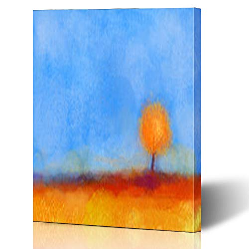 """Price comparison product image Krezy Decor Canvas Print Wall Art 16""""x16"""" Brush Abstract Tree Field Yellow Orange Red Flower Col Blue Sky Falling Season Nature Artistic Stretched Artwork Painting Home Decor Living Room Office"""