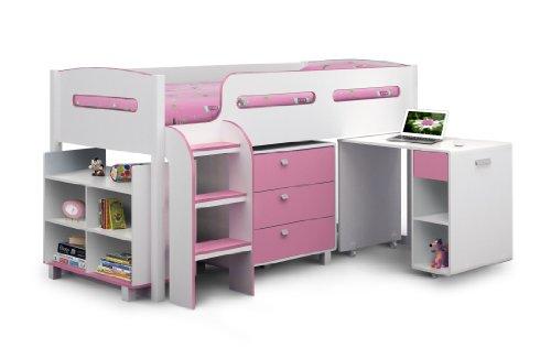 Julian Bowen Kimbo Girls Cabin Bed - Single, White/Soft Pink
