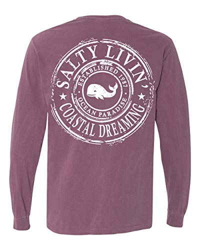 (Nautical Unisex T-Shirt Short Sleeve Mens Woman's Long Sleeve Printed Stay Salty Good Vibes Whale Design Top Tee Tail (Berry, Small))