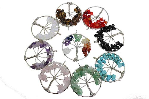 Pamir Tong Wholesale 2'' inch 9pcs Gemstone Chakra Crystal Tree of Life Pendant,Healing Stone Pendant For Necklace Earring Jewelry Making MCG19