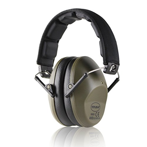 TITUS Premium Hearing Protection Ear Muff - Updated Headbands! Quality Hearing Protection Over-Ear EarMuff (Slim, Olive Drab 34NRR)
