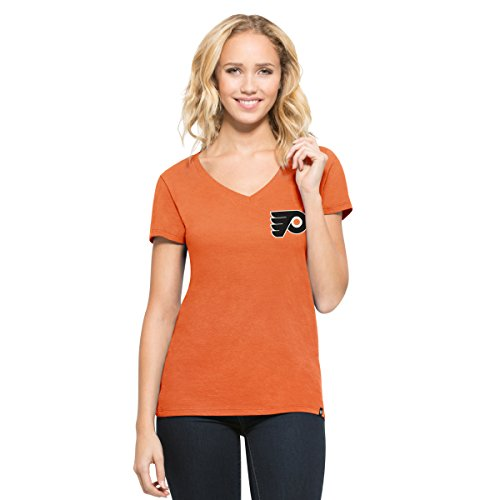 NHL Philadelphia Flyers Women's '47 Clutch MVP V-Neck Tee, Carrot, (Philadelphia Flyers Womens Socks)