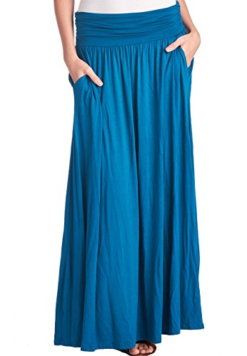 TRENDY UNITED Women's High Waist Fold Over Shirring Maxi Skirt with Pockets ,Teal-maxi,Large