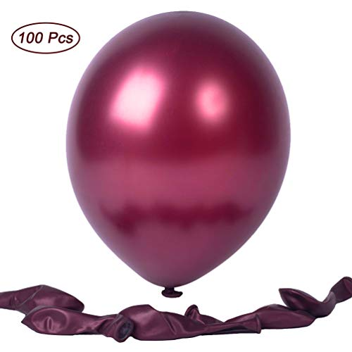 12 Inches Pearl Burgundy Premium Latex Balloons Party Balloons 100 Pcs Great for Kids Adult Birthdays Weddings Receptions Baby Showers Decorations (Burgundy) (12 Balloon Inch Pearl)