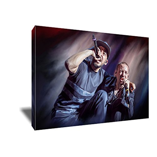 Linkin Park CHESTER BENNINGTON MIKE SHINODA Canvas Painting Poster Artwork on CANVAS ART print (12x18 inches)