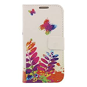 FJM Painting Butterfly Drawing Pattern Faux Leather Hard Plastic Cover Pouches for Samsung Galaxy S4 I9500
