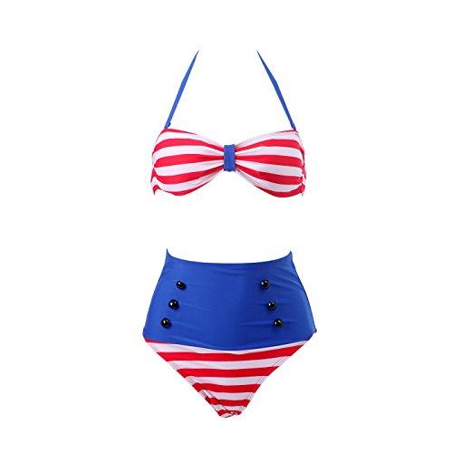 HDE Women Vintage 50s Pinup Girl Rockabilly High Waist Retro Bikini Swimsuit Set (Patriotic Red White and Blue, Medium)