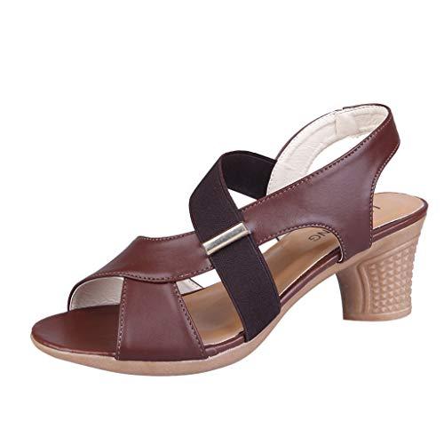 Womens Vintage Dance Shoes,❤️ FAPIZI Ladies Open Toe Sandals Square Dance Sandals Ballroom Tango Latin Dancing Shoes Brown