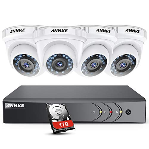 ANNKE H.264+ 1080P Security Camera System DVR Recorder with 1TB HDD Pre-Installed and (4) 2.0MP 1920TVL Weatherproof Bullet Cameras, Smart Playback, Motion Detect