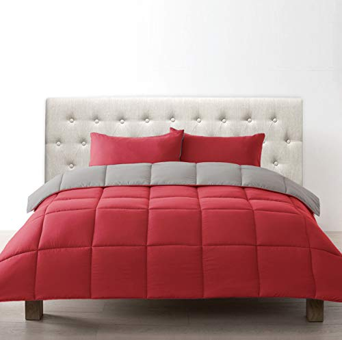 Bien Living All-Season 3 Piece Reversible Down Alternative Box Quilted Comforter Microfiber Duvet Set -Ultra Soft Lightweight -Hotel Quality Bed- Red/Graphite - Queen