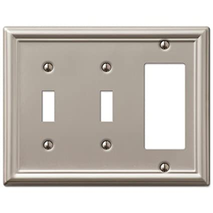 Decorative Wall Switch Outlet Cover Plates Brushed Nickel 2 Toggle