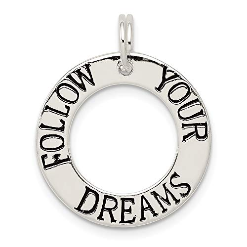 (925 Sterling Silver Follow Your Dreams Circle Pendant Charm Necklace Talking Fine Jewelry Gifts For Women For Her)