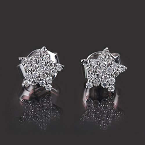 Christmas Gift Natural 0.16 Ct Diamond Star Stud Earrings Solid 18k White Gold Fine Handmade Jewelry
